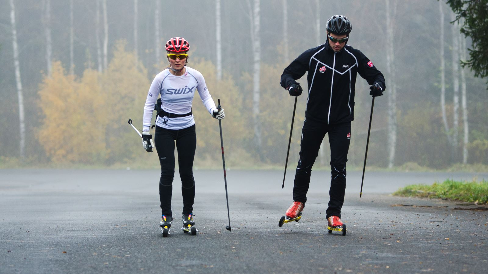 Athletes on rollerskis in foggy forest