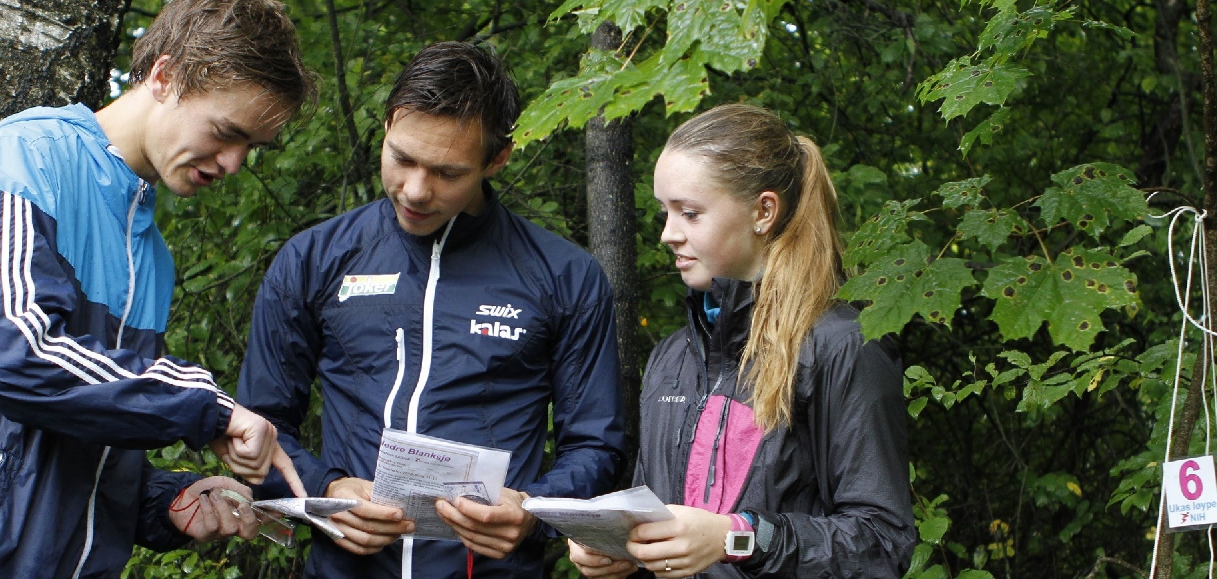 Students studying orienteerings map